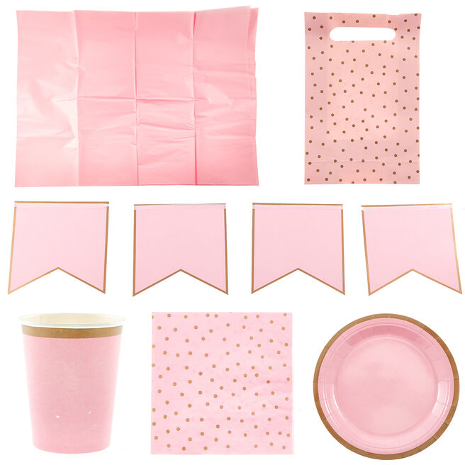Pink & Gold Party Tableware & Decorations Bundle - 8 Guests