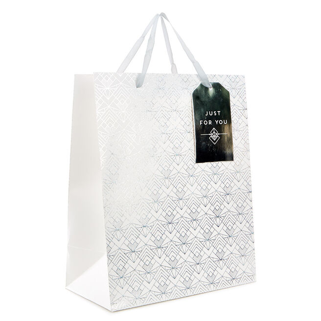 Medium Portrait Gift Bag - White & Silver Damask