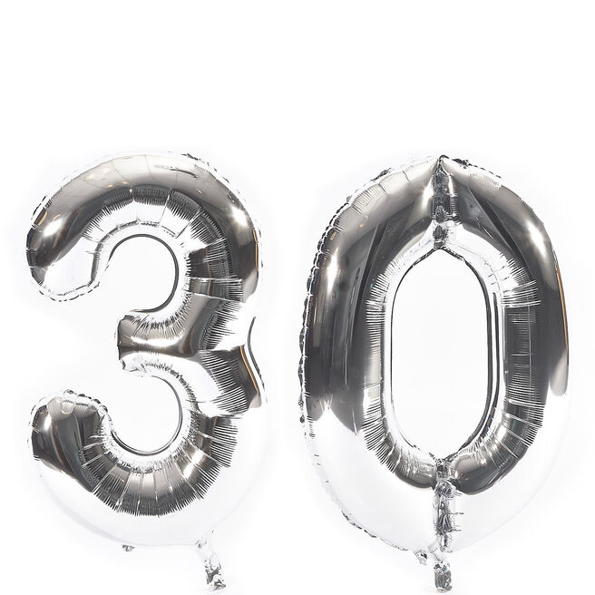 Age 30 Giant Foil Helium Numeral Balloons - Silver (deflated)