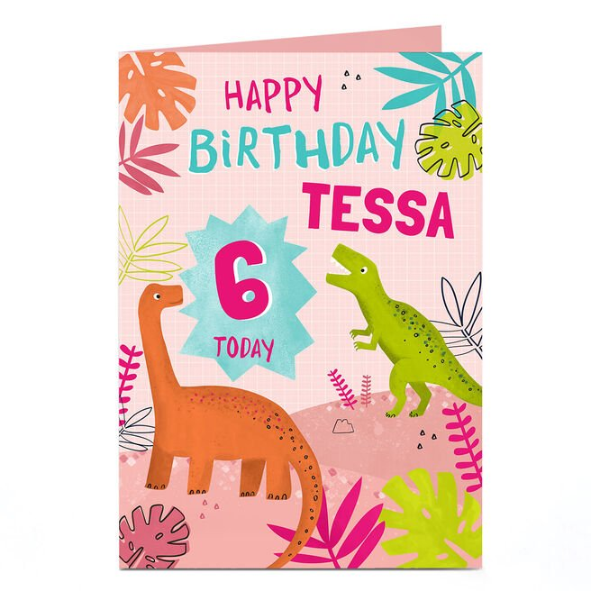 Personalised Birthday Card - Pink Dinosaur Name and Age