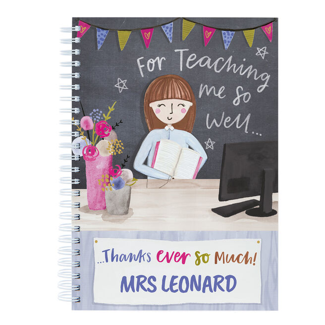 Personalised Thank You Teacher Notebook - Teaching Me So Well