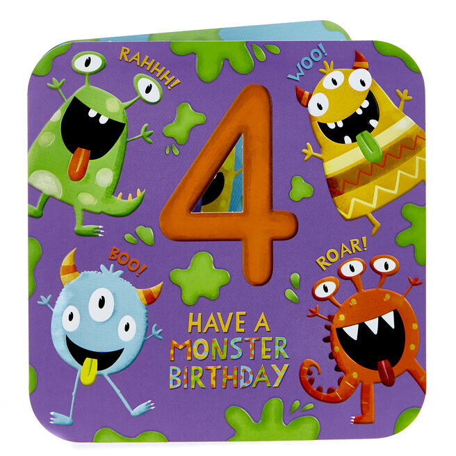 Platinum Collection 4th Birthday Card - Monsters