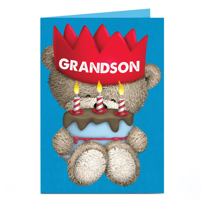 Personalised Hugs Birthday Card - Red Crown [Grandson]