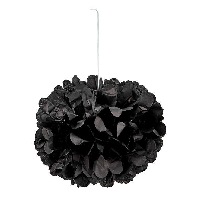 Tissue Paper Pom-Pom Party Decoration - Black