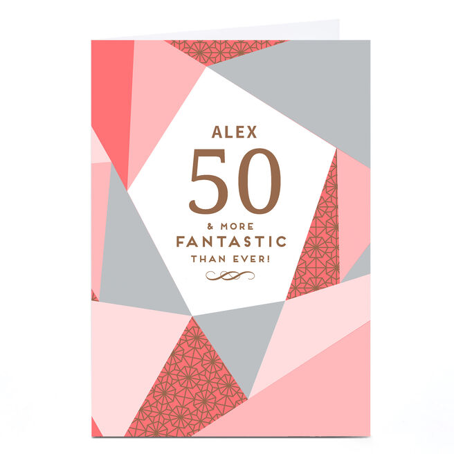 Personalised 50th Birthday Card - Geometric Pink
