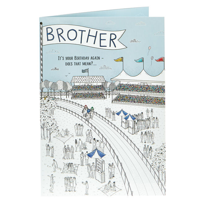 Birthday Card - Brother, Racecourse