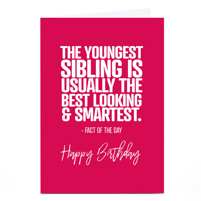Personalised Punk Birthday Card - Youngest Sibling