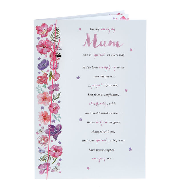 Mother's Day Card - Amazing Mum Pink Flowers