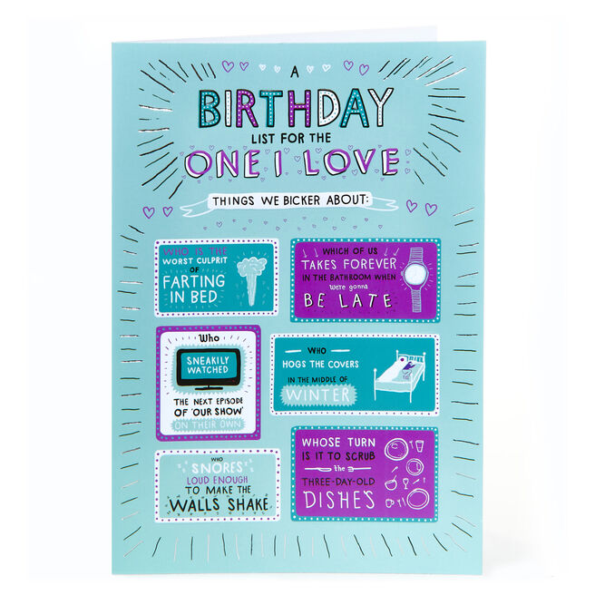 Birthday Card - List For The One I Love