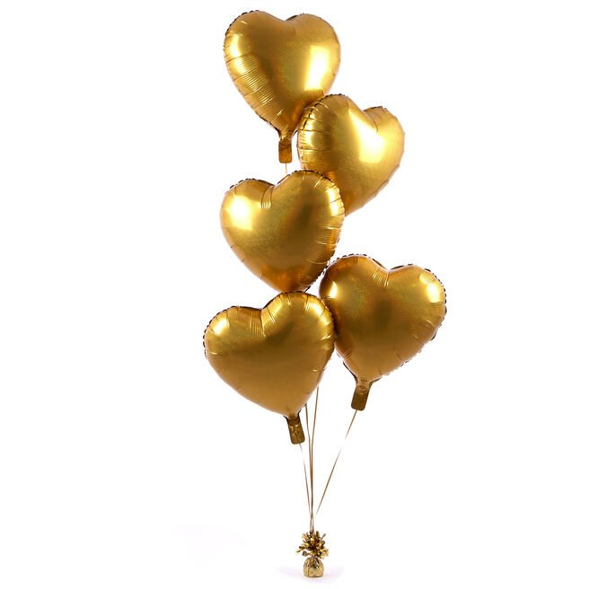 5 Gold Hearts Balloon Bouquet - DELIVERED INFLATED!