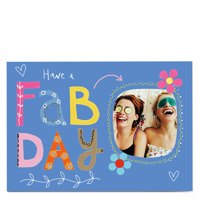 Personalised Lindsay Loves To Draw Birthday Photo Card - Have a Fab Day