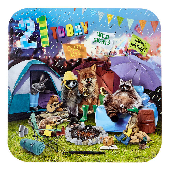 Platinum Collection 21st Birthday Card - Wild Animals