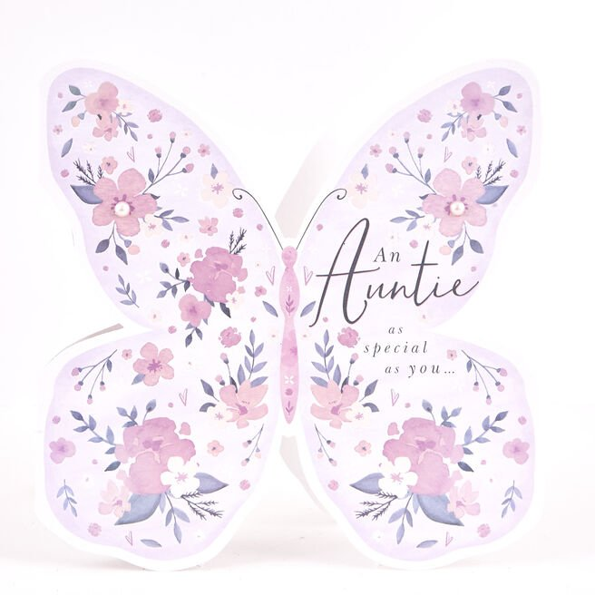 Boutique Collection Birthday Card - Auntie, Butterfly