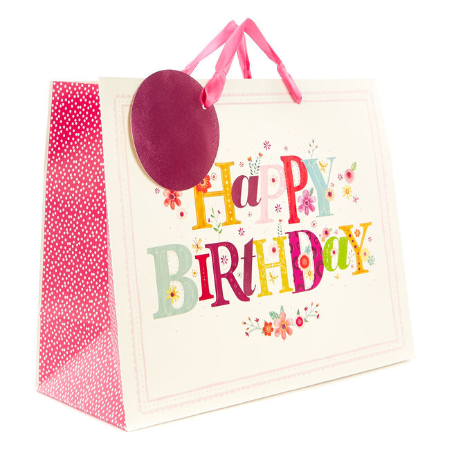 Medium Floral Happy Birthday Gift Bag