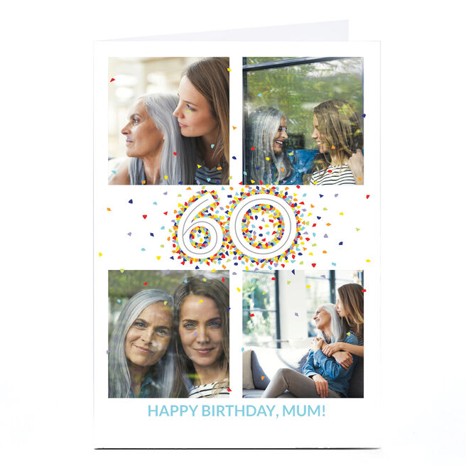 Photo 60th Birthday Card - 4 Photos, Confetti