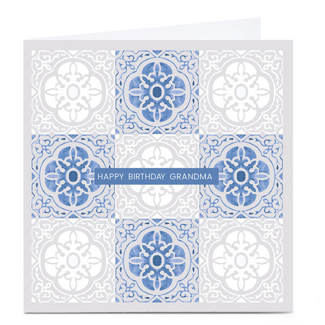 Personalised Birthday Card - Blue Mosaic [any name]