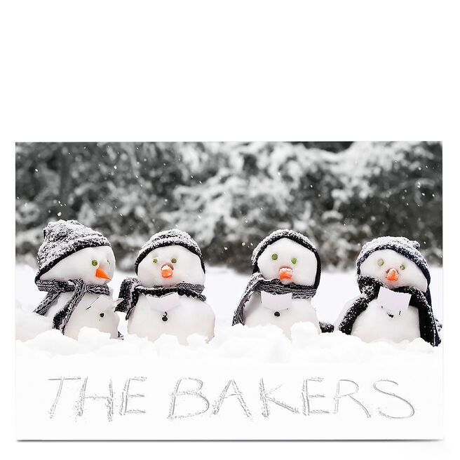 Personalised Christmas Card - Snowman Family