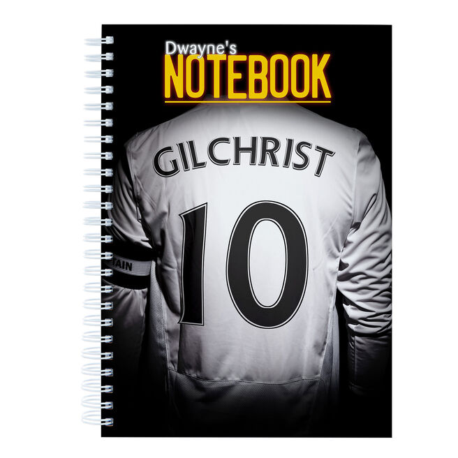 Personalised White Football Shirt Notebook