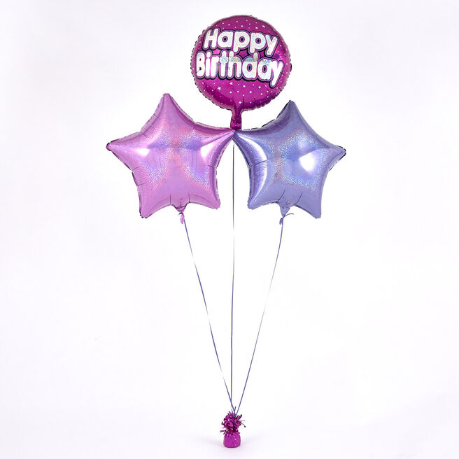 Pink Happy Birthday Balloon Bouquet - DELIVERED INFLATED!