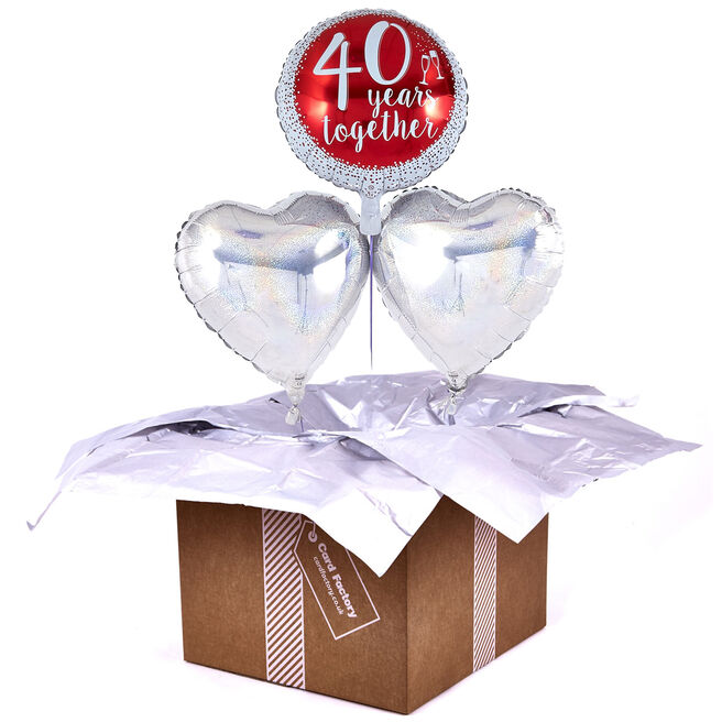 40th Anniversary Ruby Wedding Romantic Balloon Bouquet - DELIVERED INFLATED!