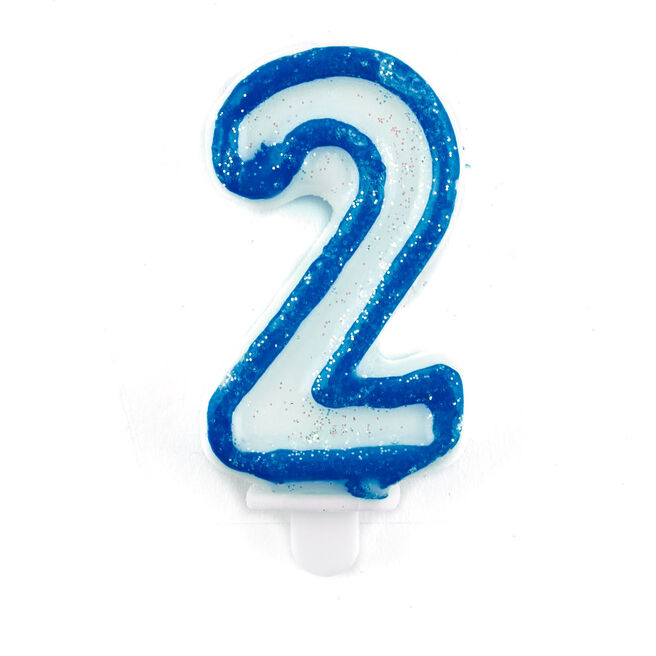 Blue Number 2 Birthday Candle