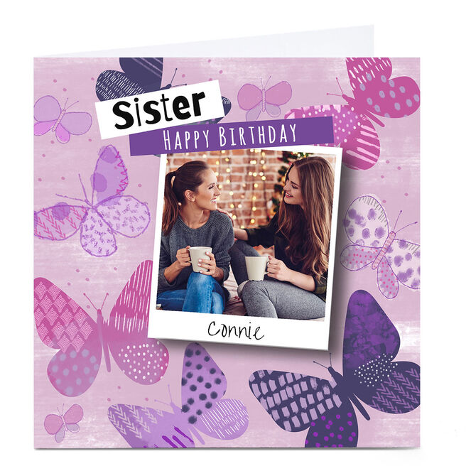 Personalised Emma Isaacs Birthday Photo Card - Butterfly Upload