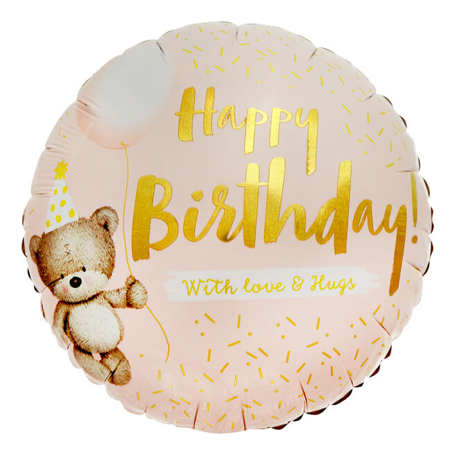 Pink Hugs Bear Happy Birthday 18-Inch Foil Helium Balloon