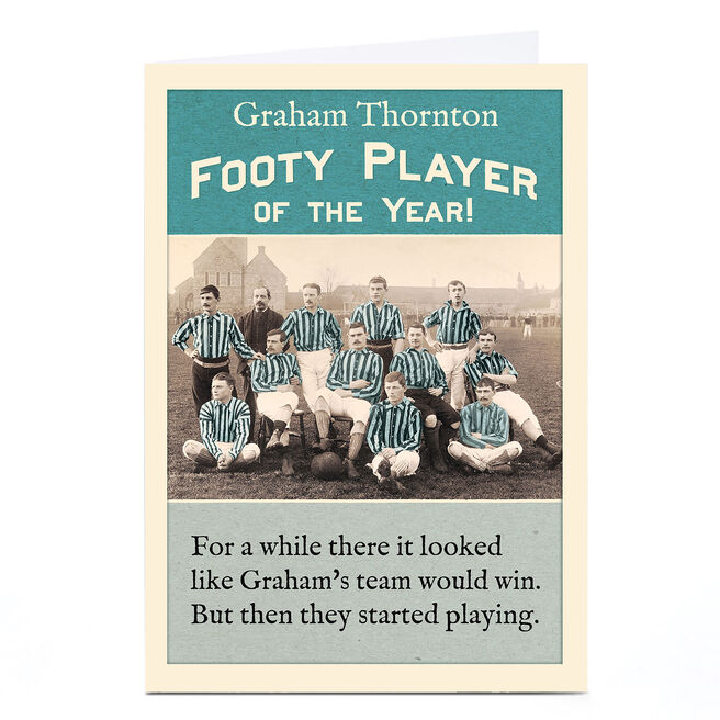 Personalised Madcap Manor Card - Footy Player Of The Year