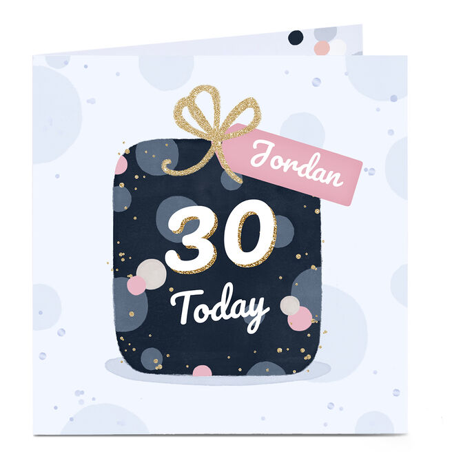 Personalised 30th Birthday Card - Pretty Present