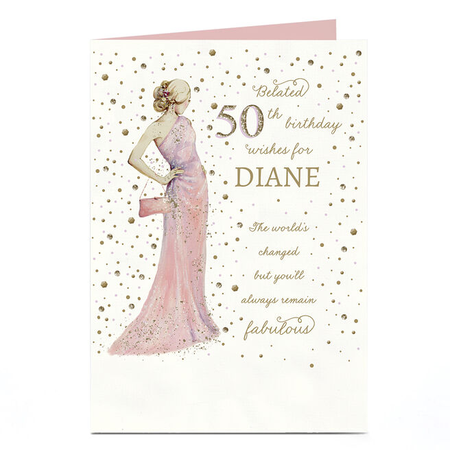 Personalised Covid Birthday Card - Belated 50th