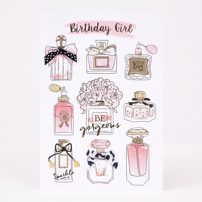 Birthday Card - Be Gorgeous, Pink Perfume | Card Factory