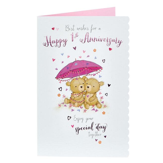 1st Anniversary Card - Bear Couple