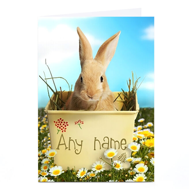 Personalised Easter Card - Rabbit In Flower Pot