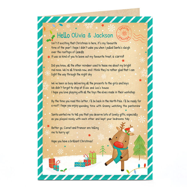 Personalised Christmas Letter From Rudolph
