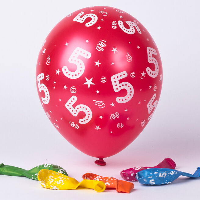 Multicoloured 5th Birthday Latex Balloons - Pack Of 6