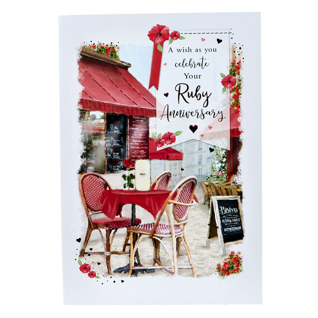 Ruby Wedding Anniversary Card - Bistro Scene
