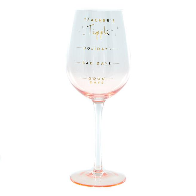 Best Teacher Ever Wine Glass