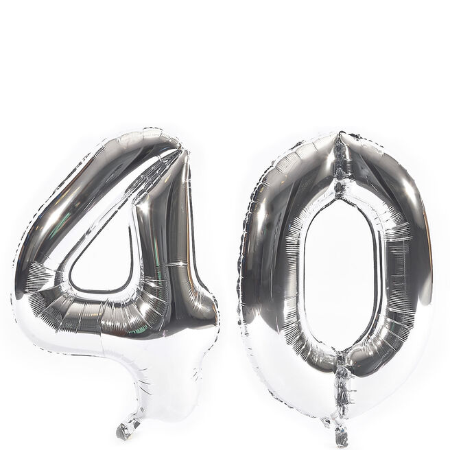 Age 40 Giant Foil Helium Numeral Balloons - Silver (deflated)