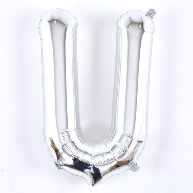 Silver Letter U Air-Inflated Balloon