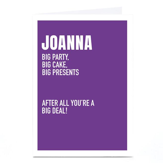 Personalised Wordee Birthday Card - Big Deal