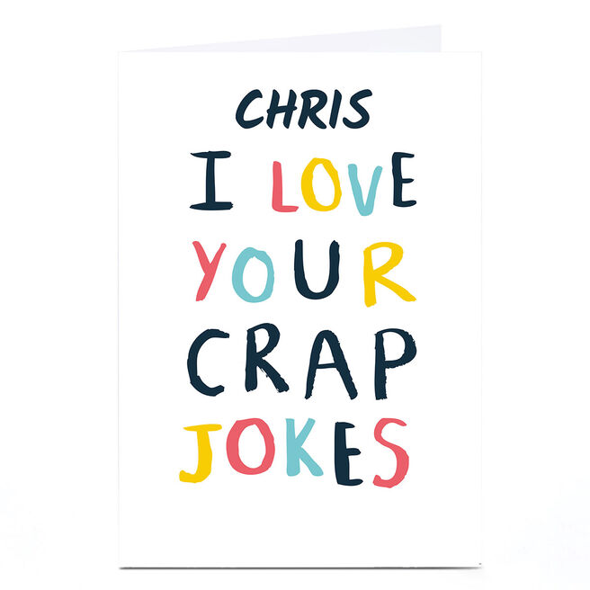 Whale & Bird Personalised Card - I Love Your Crap Jokes