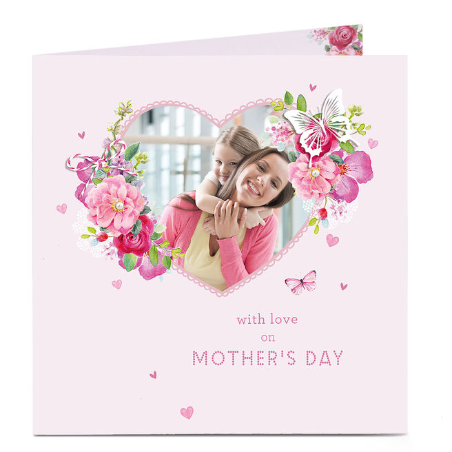 Photo Upload Mother's Day Card - Floral Pink Lace