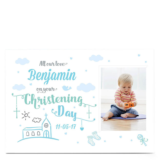 Photo Christening Card - Blue