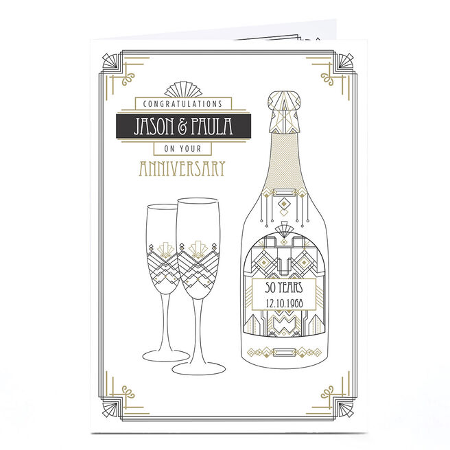 Personalised Anniversary Card - Art Deco Champagne 50 Years