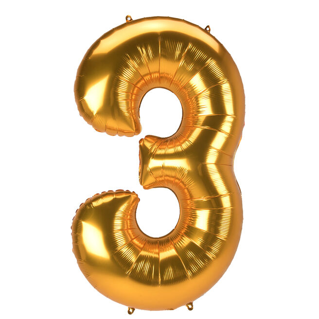 JUMBO 53-Inch Gold Foil Number 3 Balloon (Deflated)