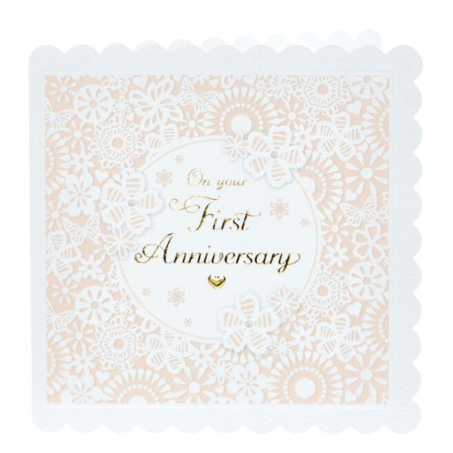 1st Anniversary Card - Pink & White