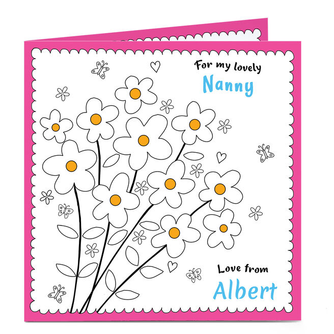 Personalised Card - Nanny's Flowers Colour In Card