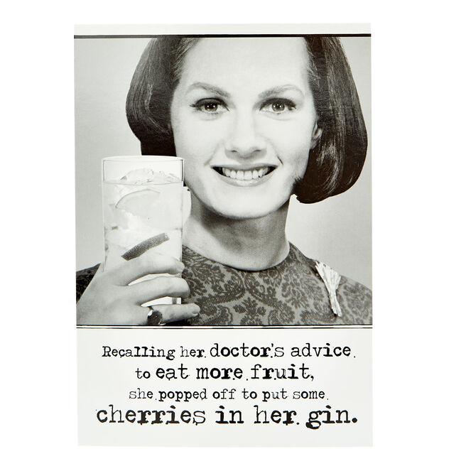 Birthday Card - Cherries In Her Gin