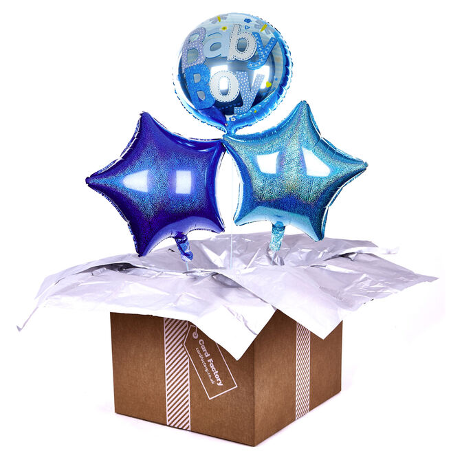 Blue Baby Boy Balloon Bouquet - DELIVERED INFLATED!
