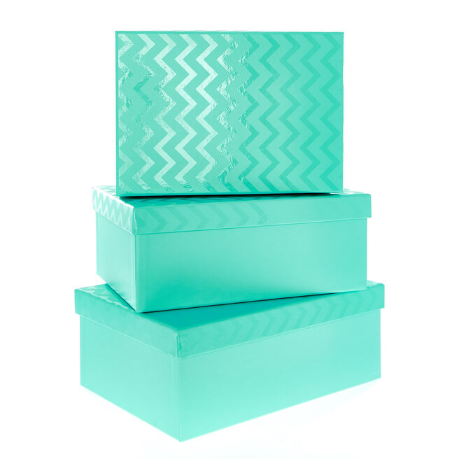Turquoise Chevron Gift Boxes - Set Of 3